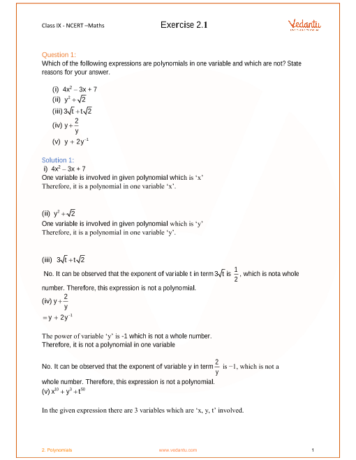NCERT Solutions for Class 9 Maths Chapter 2 part-1