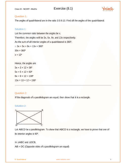 NCERT Solution-Quadrilaterals part-1