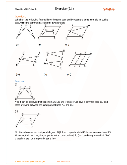 NCERT Solution-Areas of Parallelograms and Triangles part-1
