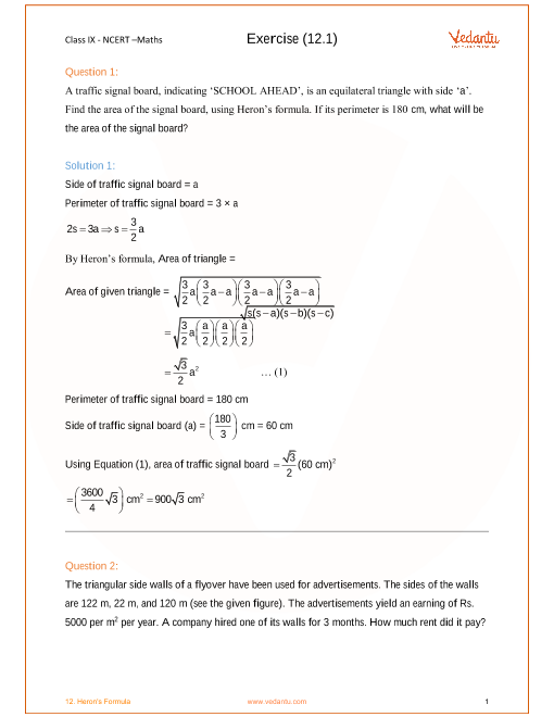 NCERT Solution-Herons Formula part-1