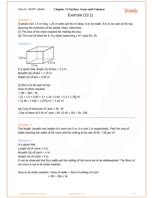 NCERT Solution-Surface Areas and Volumes part-1