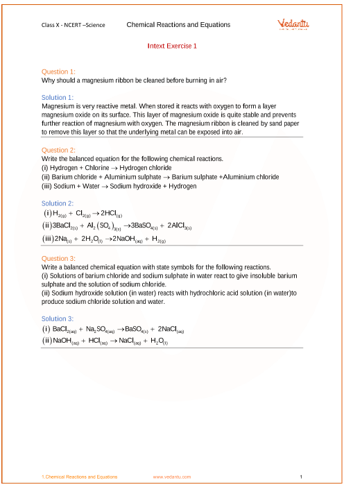 NCERT Solution-Chemical Reactions and Equations part-1