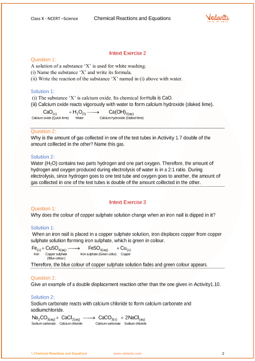 Ncert Solutions For Class 10 Science Chapter 1 Chemical Reactions