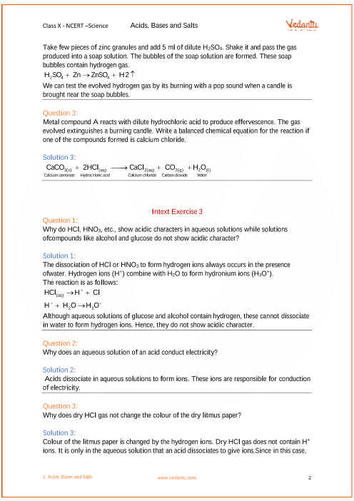 Ncert Solutions For Class 10 Science Chapter 2 Acids Bases And