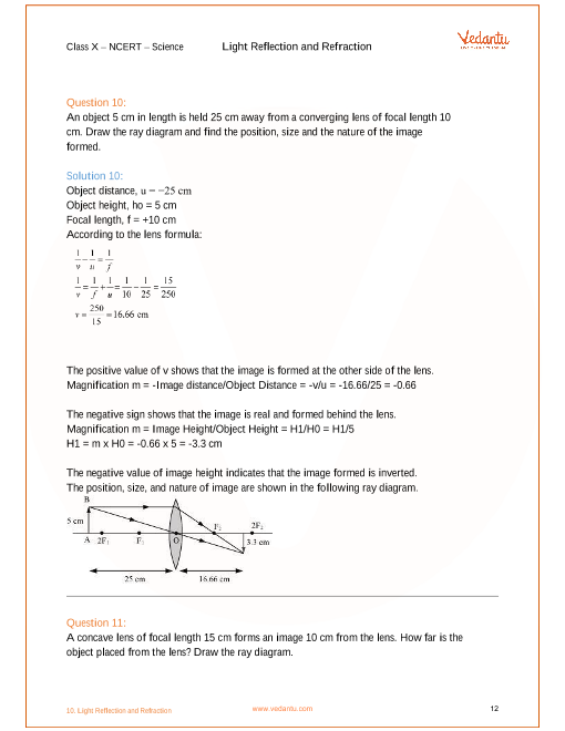 Ncert Solutions For Class 10 Science Chapter 10 Light Reflection