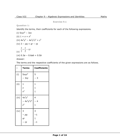 NCERT Solution-Algebraic Expressions and Identities part-1