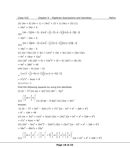 NCERT Solutions for Class 8 Maths Chapter 9 Algebraic Expressions ...