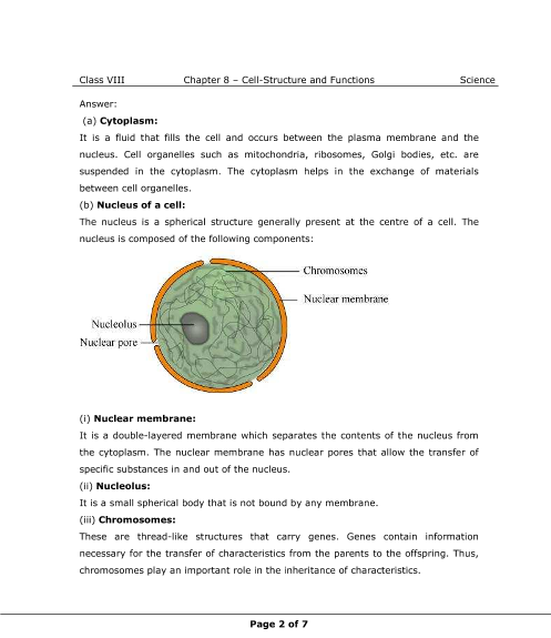 Ncert Solutions For Class 8 Science Chapter 8 Cell Structure And