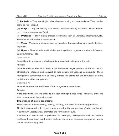 NCERT Solutions for Class 8 Science Chapter 2 - Microorganisms ...