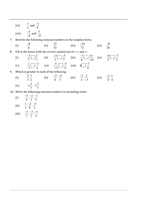NCERT Solutions for Class 7 Maths Chapter 9 Rational Numbers