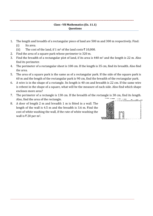 NCERT Solution-Perimeter and Area part-1