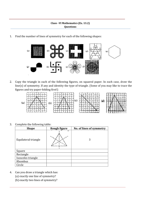 Ncert Solutions For Class 6 Maths Chapter 13 Symmetry Free Pdf