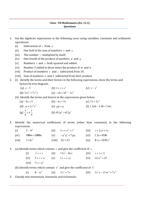 NCERT Solution-Algebraic Expressions part-1