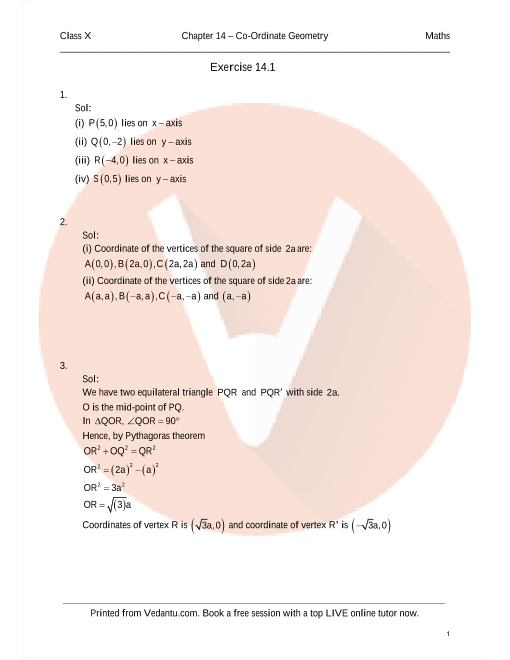 RD Sharma Class 10 Solutions Chapter 14 Co-Ordinate Geometry part-1