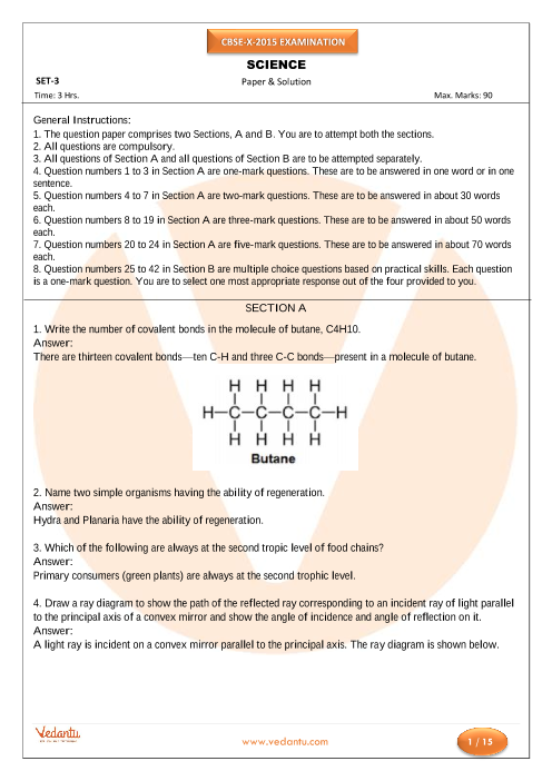 CBSE Class 10 Science Previous Year Question Paper 2015 part-1