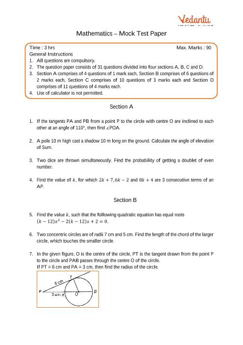 CBSE-10th-Maths - Mock Test Paper-3 part-1