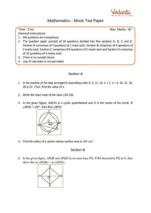 CBSE-9th-Maths - Mock Test Paper-3 part-1