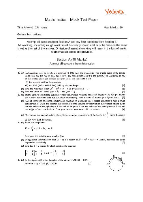 ICSE-10th-Maths - Mock Test Paper-2 part-1