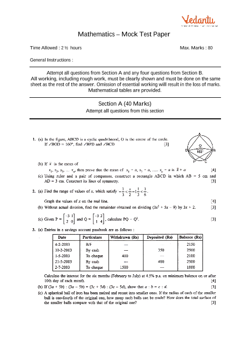 Icse sample question papers for class 10 maths mock paper 3 icse 10th maths mock test paper 3 part 1 malvernweather Images