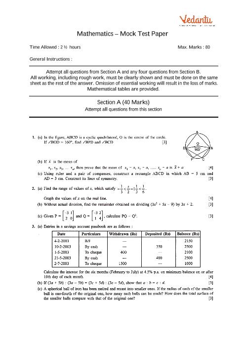 ICSE-10th-Maths - Mock Test Paper-3 part-1