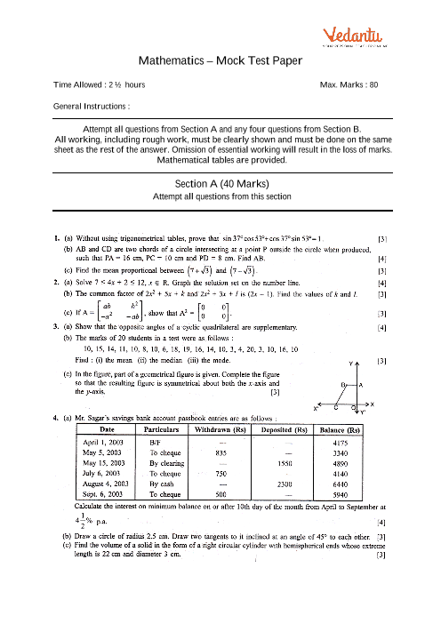 ICSE-10th-Maths - Mock Test Paper-4 part-1