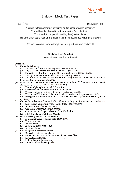 ICSE-10th-Biology - Mock Test Paper-2 part-1