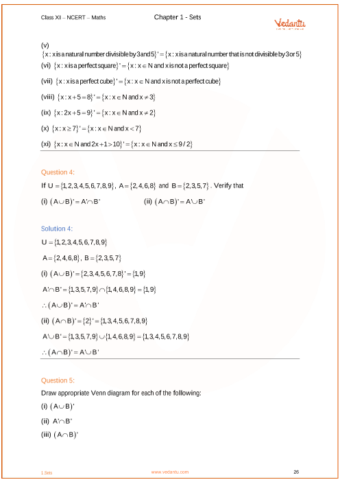 Ncert Solutions For Class 11 Maths Chapter 1 Sets