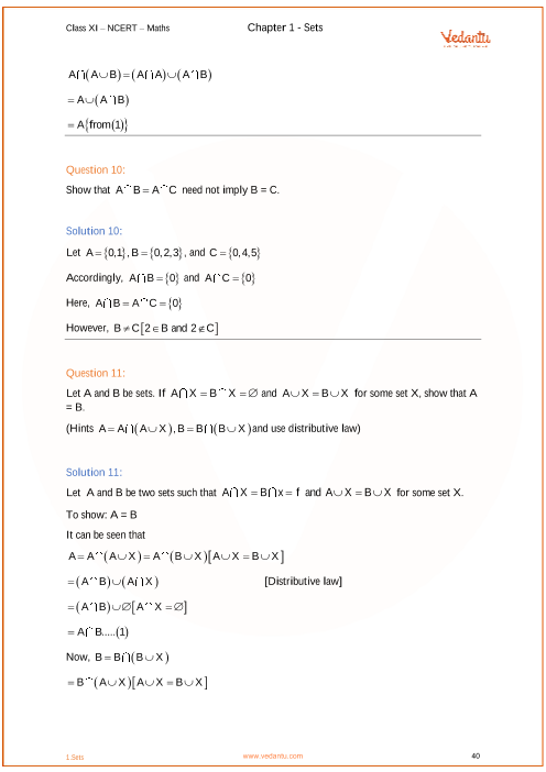 Ncert Solutions For Class 11 Maths Chapter 1 Sets