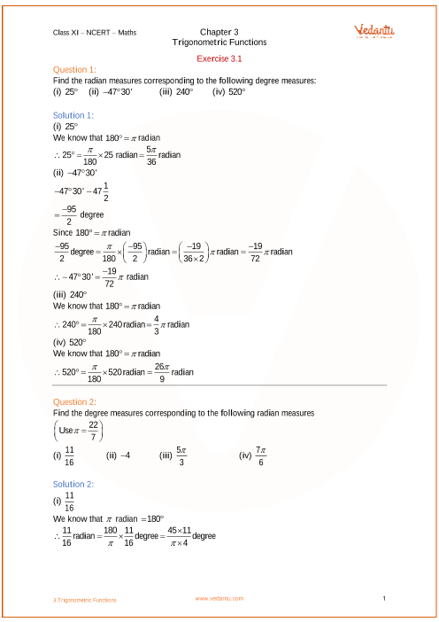 class 11 maths ncert solutions trigonometry