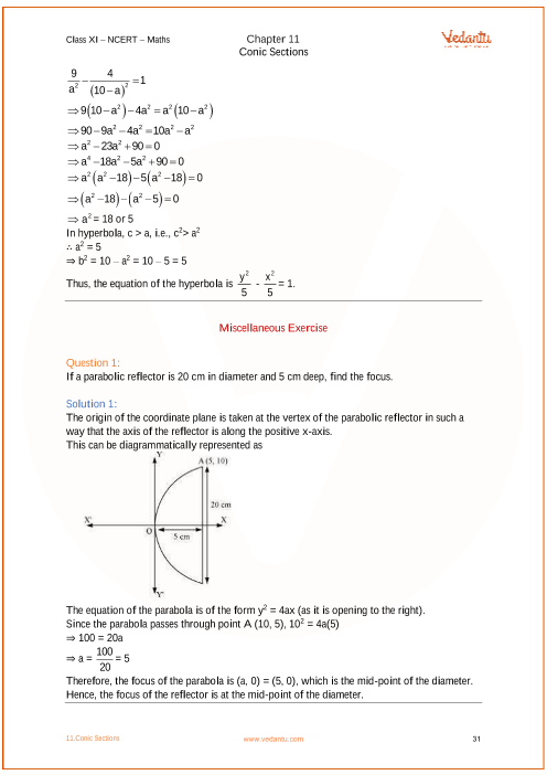 Conic Sections Class 11 Ncert Solutions Pdf