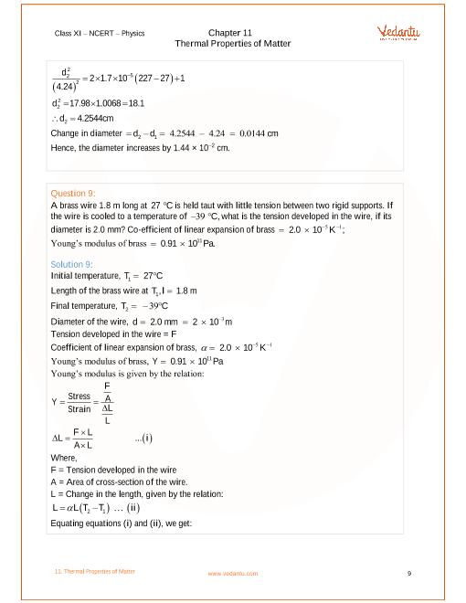 NCERT Solutions For Class 11 Physics Chapter Thermal Properties Of Matter