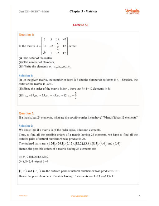 Premise Indicator Words: NCERT Solutions For Class 12 Maths Chapter 3