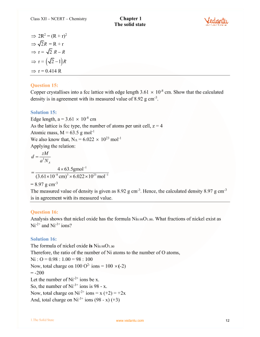Ncert Solutions For Class 12 Chemistry Chapter 1 The Solid State