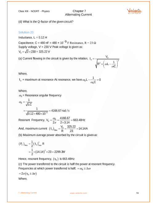 ncert solutions for class 12 physics chapter 7 alternating current