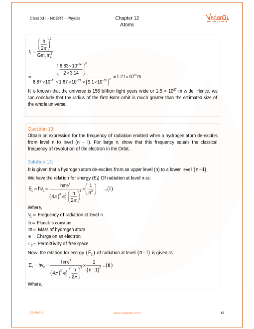 Ncert Solutions For Class 12 Physics Chapter 12 Atoms
