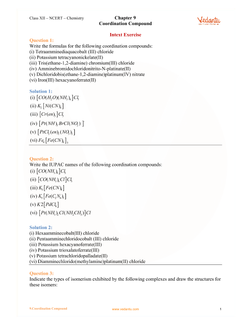 Chapter-9- Coordination Compound part-1