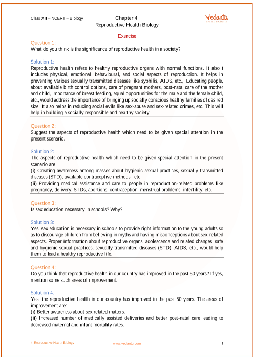 ncert solutions for class 12 biology chapter 4 reproductive health