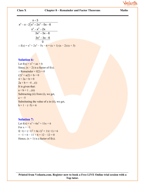 Remainder and Factor Theorems Solutions for ICSE Board Class 10 – The Remainder Theorem Worksheet