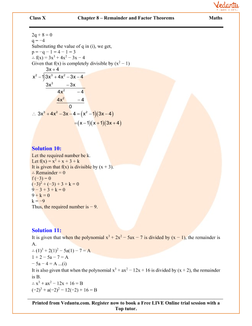 Remainder and Factor Theorems Solutions for ICSE Board Class 10 – Factor Theorem Worksheet