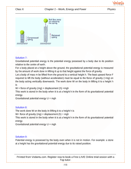 Work Energy And Power Solutions For Icse Board Class 10 Physics