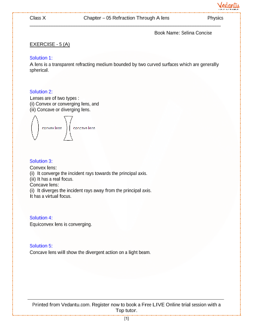refraction through a lens solutions for icse board class 10 physics