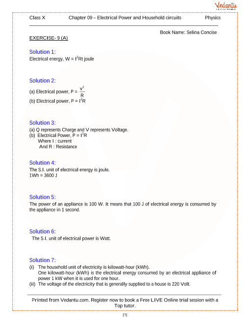 Household Circuits Solutions for ICSE Board Class 10 Physics ...