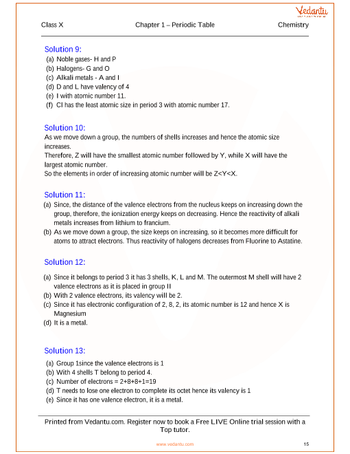 periodic table periodic properties and variations of properties solutions for icse board class 10 chemistry - In The Periodic Table As The Atomic Number Increases From 11 To 17