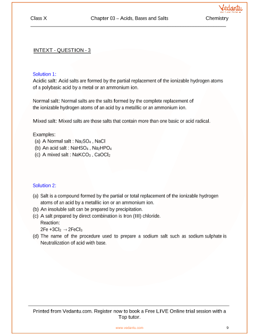 Acids Bases and Salts Solutions for ICSE Board Class 10 Science – Acids Bases and Salts Worksheet