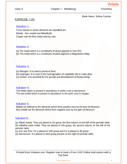 Metallurgy Solutions For Icse Board Class 10 Science Concise