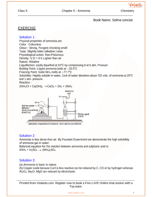 study of compounds ammonia solutions for icse board class 10