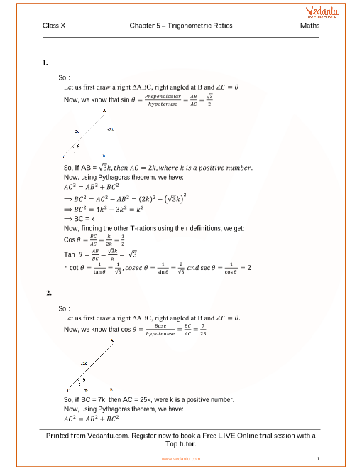 RS Agarwal Class 10 Solutions Chapter 05 Trignometric Ratios part-1