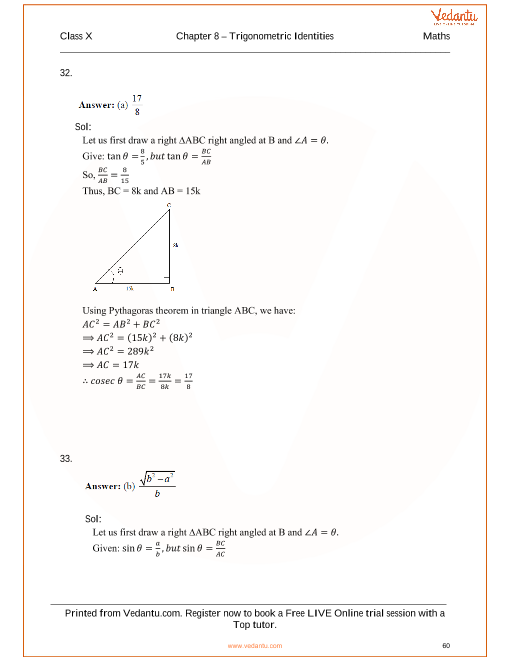 Rs Aggarwal Class 10 Solutions Chapter 8 Trigonometric Identities