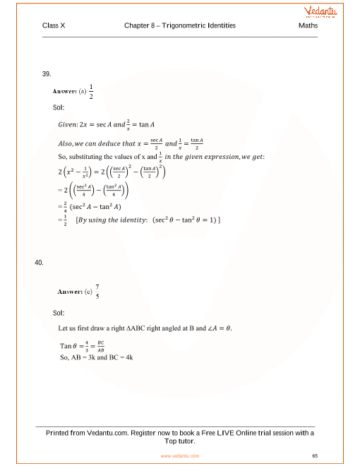 RS Aggarwal Class 10 Solutions Chapter 8 Trigonometric Identities – Trig Identity Worksheet