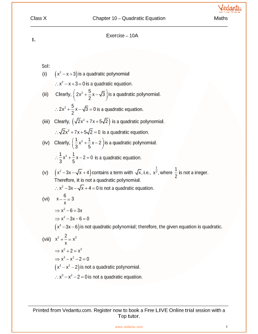 RS Agarwal Class 10 Solutions Chapter 10 Quadratic Equation part-1